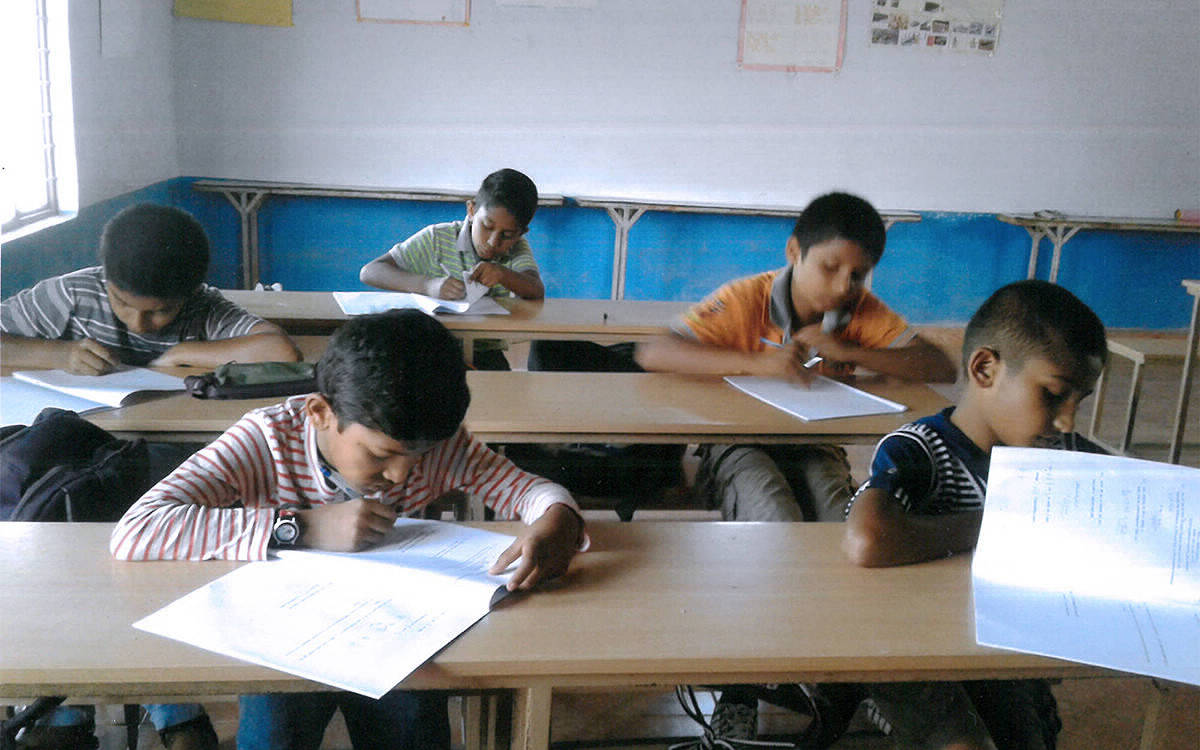 Test being conducted at Lions School, Gonikoppal, as preparation for Sainik School, Kudige entrance examination.